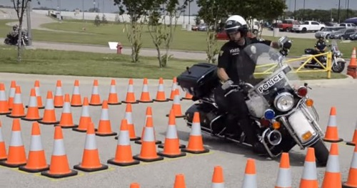 Motorcycle Cop Slays Obstacle Course